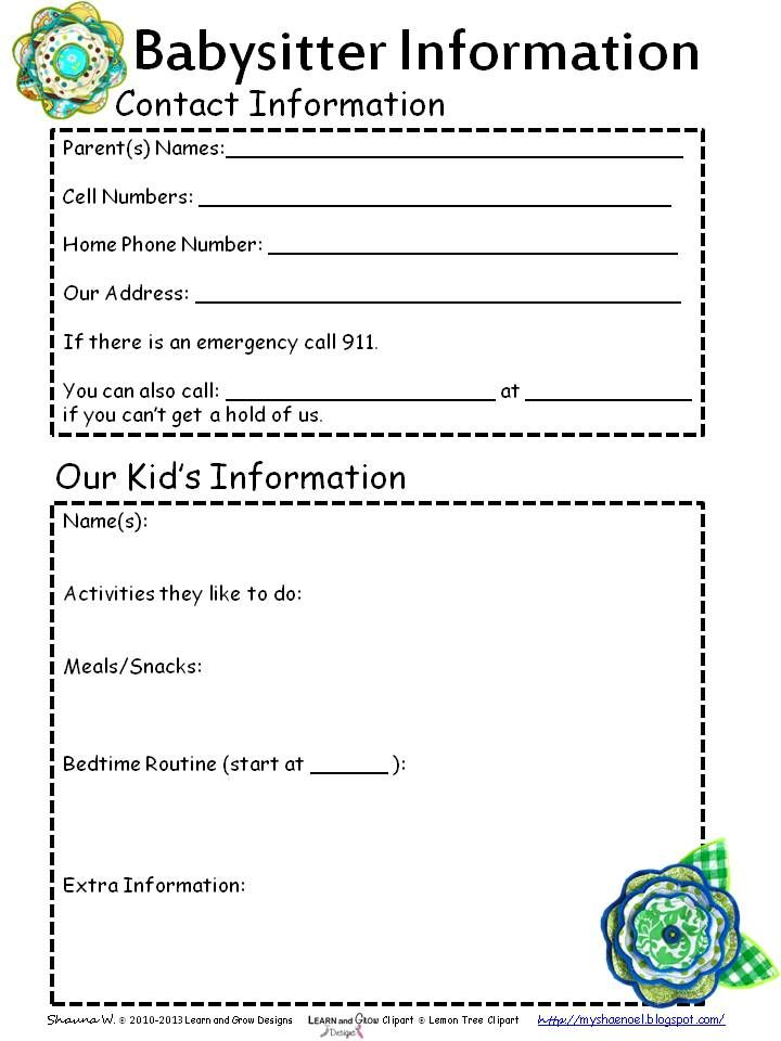 My Shae Noel - Home of Learn and Grow Designs: Free Babysitter Information Printable and Babysitter Themed Booklist for Kids