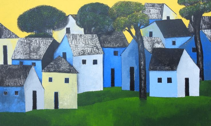 See village through the eyes of Nagesh.Splendid Work!Very soothing colors & peaceful.Ideal for beautiful homes @artzest.ae @artzesthome #artzest #art #landscape #splendid #beautifulhomes #green #blue #tones #modern #contemporary #buyonline  www.artzest.org