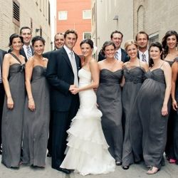Such a chic wedding ~ I love the elegant, long length, chiffon grey bridesmaid's dresses don't you?