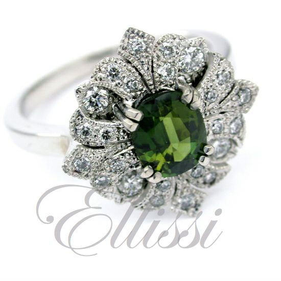 """I have always felt a gift of diamonds shines so much better than one you buy for yourself"" – Mae West  We couldn't agree more with Mae! And if you have some colour with your diamonds, it can open up a whole world of possibilities.  What do you think of this Ellissi design with striking green sapphire ?  #ellissijewellery #wedding #engagement"