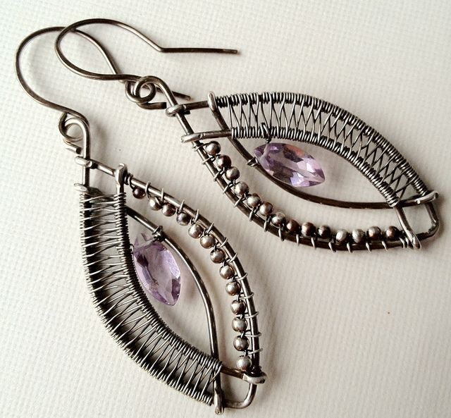 Marquis cut pink amethyst with woven and beaded silver frame by anikosandor, via Flickr