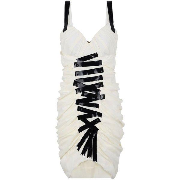 Moschino Short Dress (£1,679) ❤ liked on Polyvore featuring dresses, ivory, deep v-neck dress, mini dress, print dress, short dresses and patterned mini dress