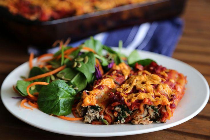 Vegan spinach and tofu ricotta cannelloni