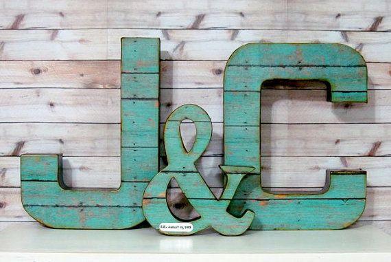 Wedding Letter Set -Large- with Ampersand, Wedding Decor - Initials - Custom - Personalized