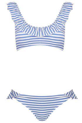 Stripe Frill Crop Bikini