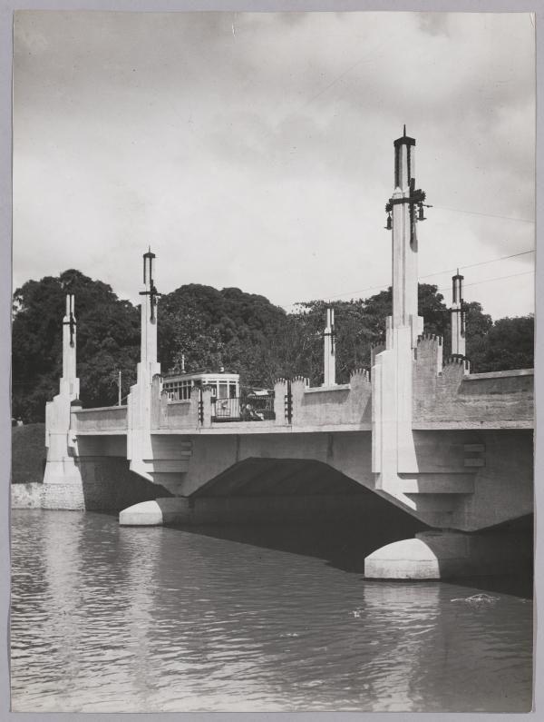 Gubeng bridge, a tram above it was oprating...dates unknown