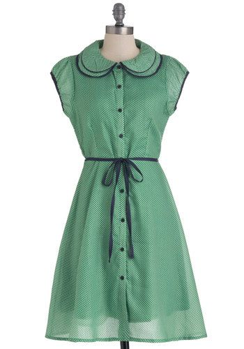 Meadow My Goodness Dress, with a peter pan collar and polka dots, from ModCloth. #polkadots #green #navy