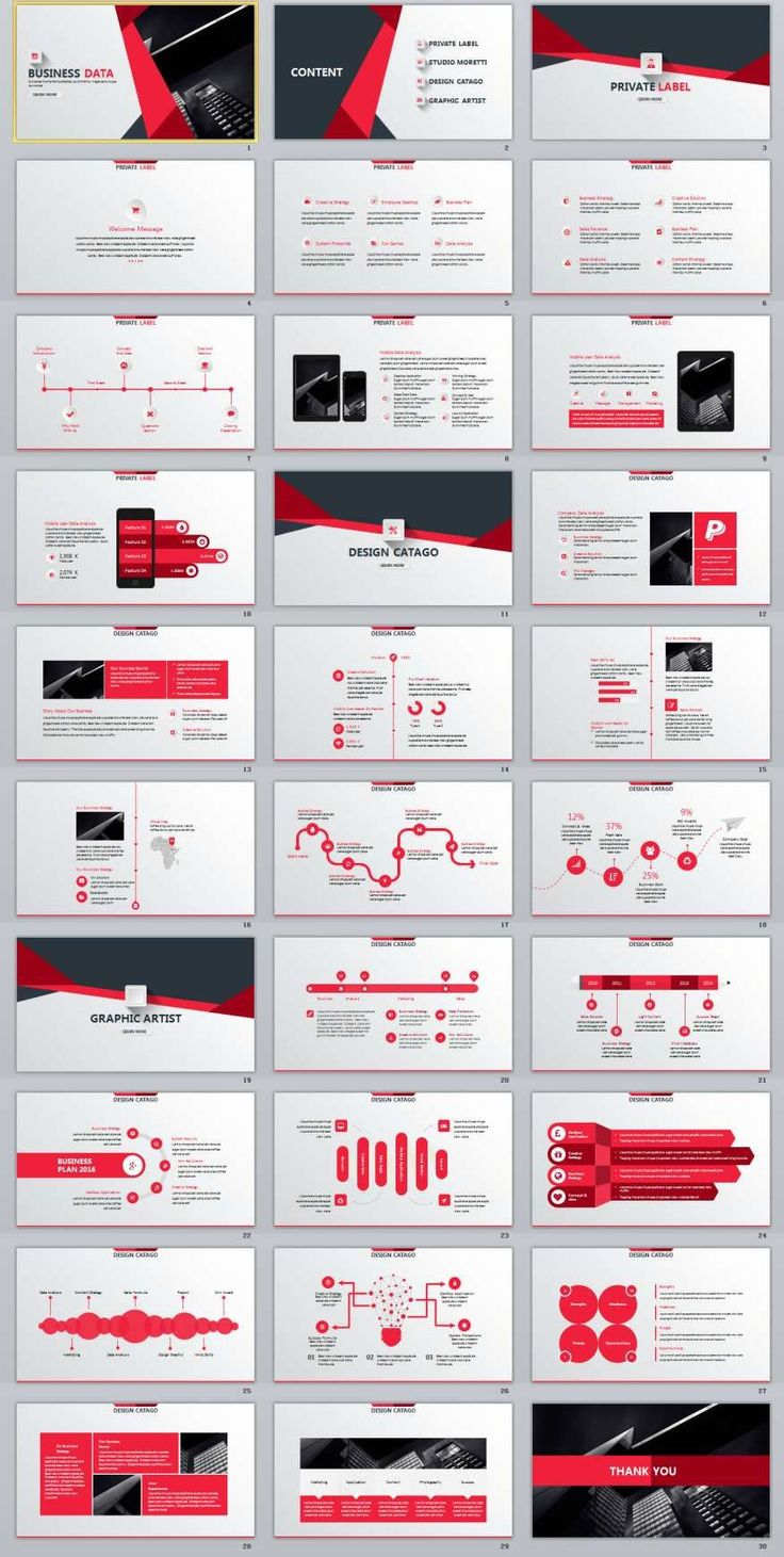 30+ Red Business Data PowerPoint Template