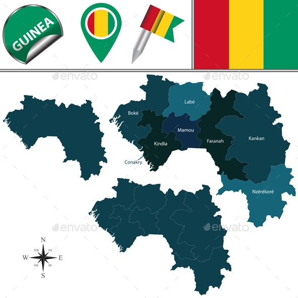 Map of Guinea with Named Regions by sateda2012 Vector map of Guinea with named regions and travel icons. Package contains: EPS (10 version), JPG (5000脳5000 pixels, RGB).