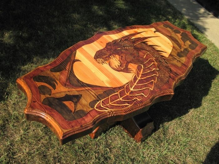 dragon furniture | Pyrography from Canada | ESSENCE OF WOODWORK