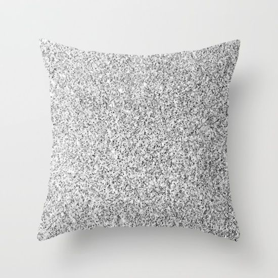 Beautiful Silver glitter sparkles Throw Pillow
