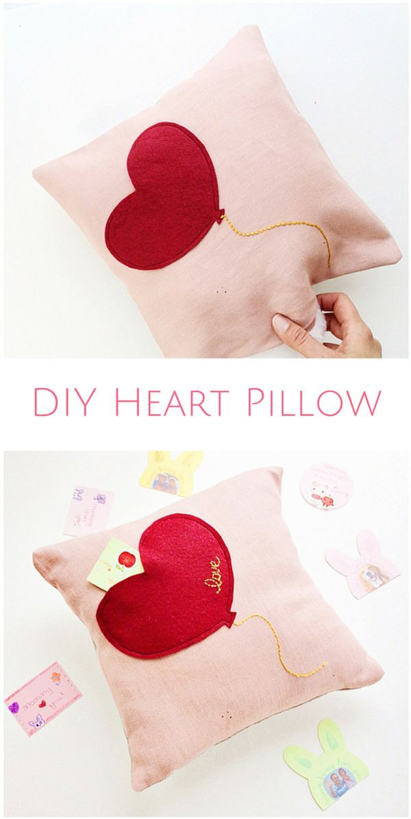 DIY Valentine's Day Heart Pillow with Secret Pocket. Sew this easy pillow and leave love notes inside for the kids! #valentinesdaycrafts