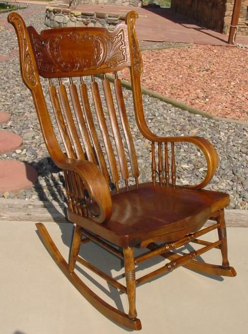 1890s Murphy Chair Co. Pressed Back Rocking Chair w/Rolled Arms .. - Victorian Rocking Chairs Inspirations ~ Home & Interior Design