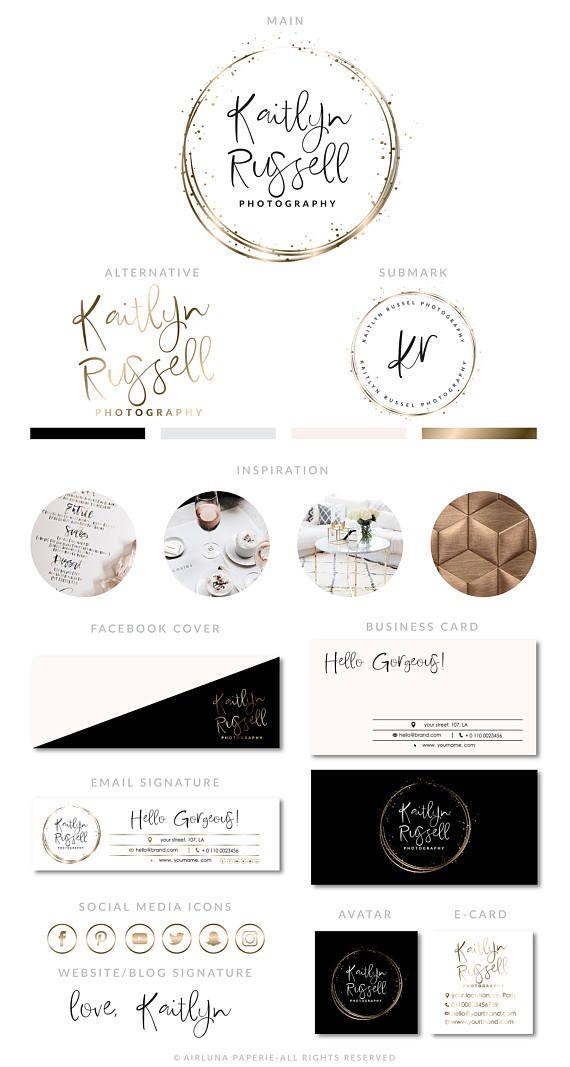 Rose Gold Confetti Logo, Makeup Salon Logo, Rose Gold Botanical Logo,  Event Planner Logo, Rose Gold