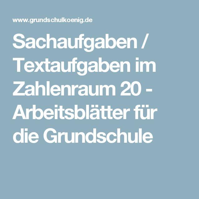Sachaufgaben / Textaufgaben im Zahlenraum 20 - Arbeitsblätter für die Grundschule