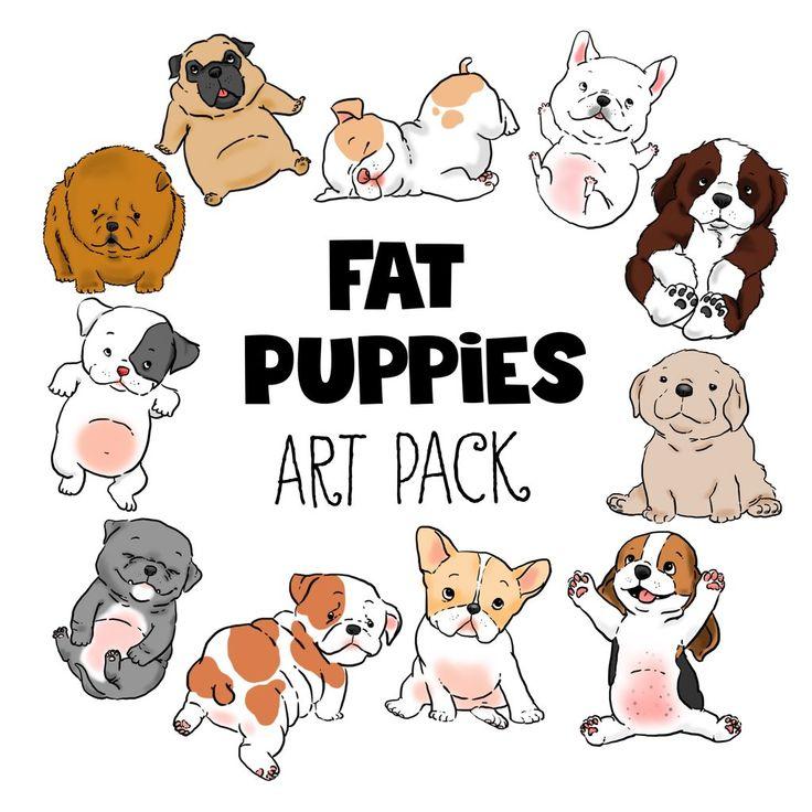 Fat Puppies Cartoon Dog Clip Art pack, 11 Digital Files