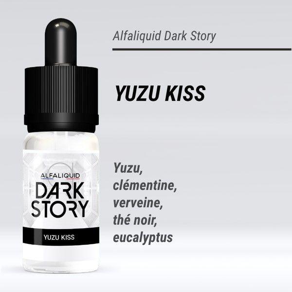 Le e liquide Yuzu Kiss - Dark Storydu leader de la vape Alfaliquid, fabricant de e liquide français, est un mélange de yuzu, thé noir, clémentine, eucalyptus et verveine. Succombez à cette invitation à vous envoler vers le Japon, avec comme seul bagage votre cigarette electronique! Dosage de nicotine: 0, 3, 6 et 11mg. Contenance du flacon: 10ml.