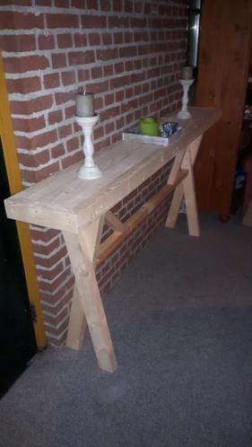 Nieuwe houten tafel maten zijn: 190 lengte 30 breed 90 hoog de tafel is te bestellen in white of grey wash andere maten in gedachte ? Stuur me daarvoor een berichtje