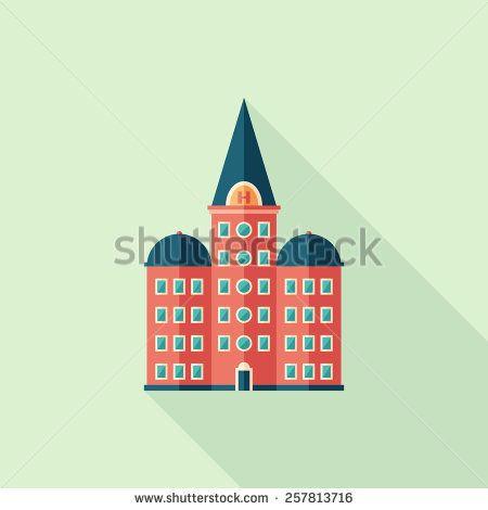 Retro hotel flat square icon with long shadows. #buildingicon #flaticons #vectoricons #flatdesign