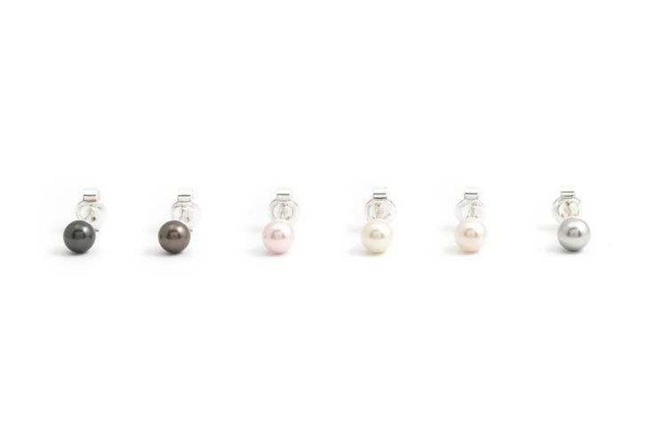 "Brruine parel oorknopjes met 5 mm ""brown pearl"" Swarovski pareltje"