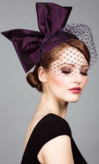 Rachel Trevor Morgan, S/S 2014. Silk taffeta headpiece Alice band with face veil and bow.