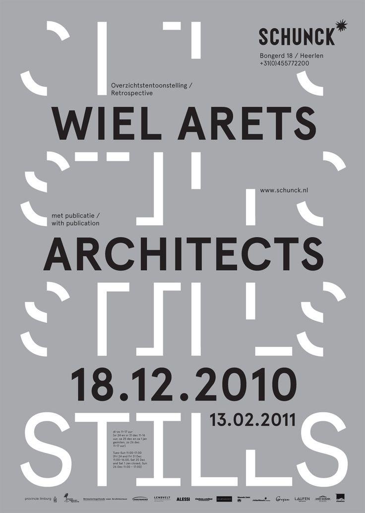 STILLS Book + Poster  Size: 200 X 265 Mm + Bookshop Window  Printing: Silver + Black PMS  Typefaces: Apercu  Client: Wiel Arets Architects  Year: 2010