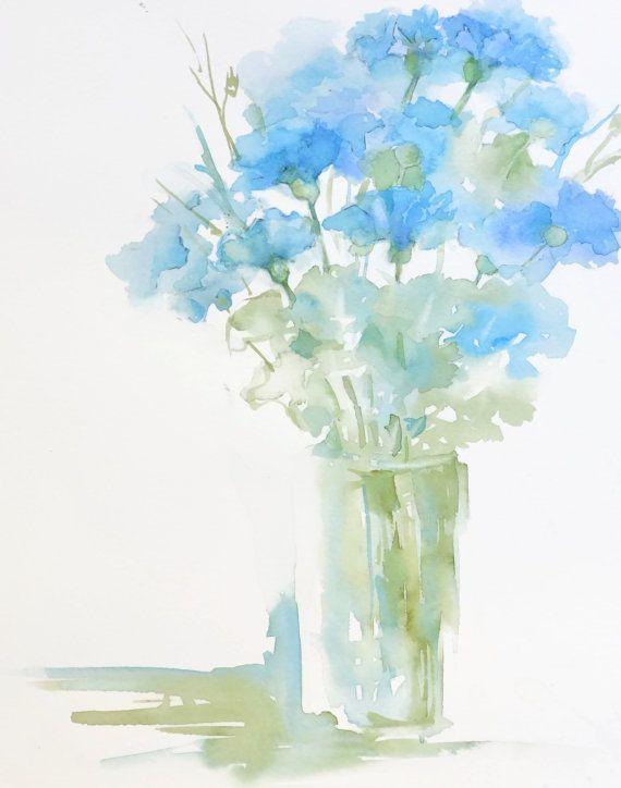 Bloemen in een vaas blauw stilleven aquarel door NancyKnightArt