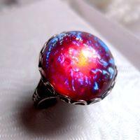 Round Dragon's Breath Opal Ring - Mexican Opal