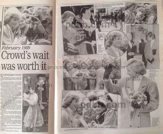 February 23 1989 Diana visits Nottingham to open the newly refurbished Albert Hall Conference Centre  Diana tours an exhibition of costumes at the Playhouse Theatre in Nottingham Diana visits the Alfred Minto Mental Health Project Basford
