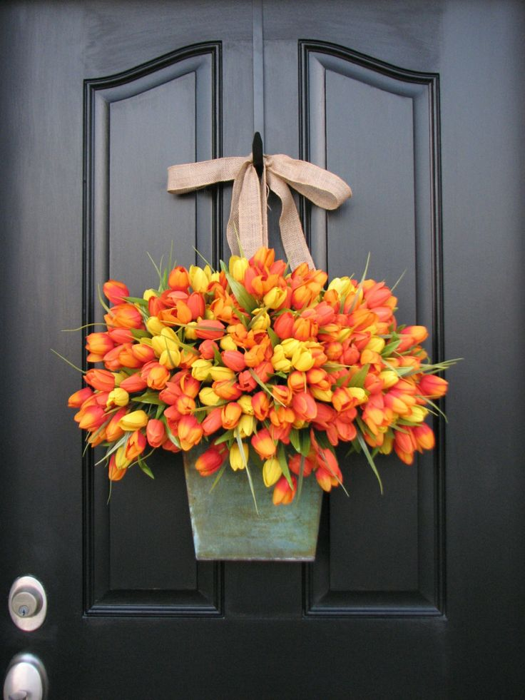 Gorgeous Tulip Wreath  Spring Tulips - Farmouse Tulips - XL Front Door Decor - Galvanized Bucket - Country French Home Decor - Shabby Chic Collection - Wreaths. $120.00, via Etsy.