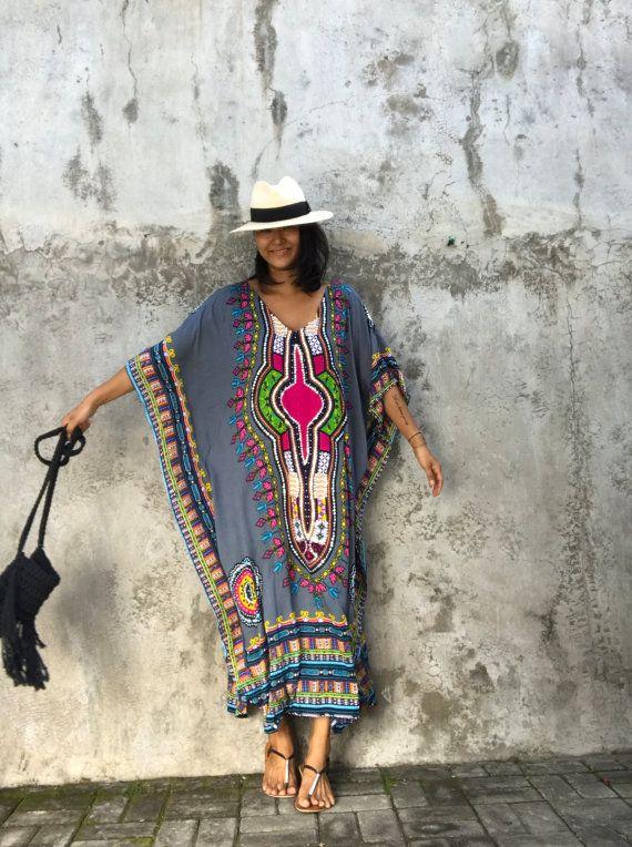 Robe caftan vente ethnique gris robe de soirée plage par stylepark1