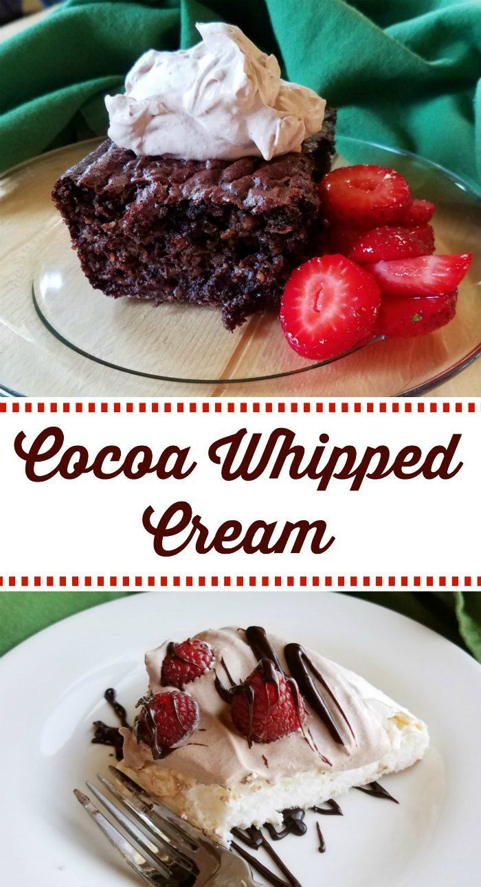 This cocoa whipped cream is light and light and fluffy.  It is also lightly sweet and has just enough chocolate flavor.  It is a perfect topping for so many things!