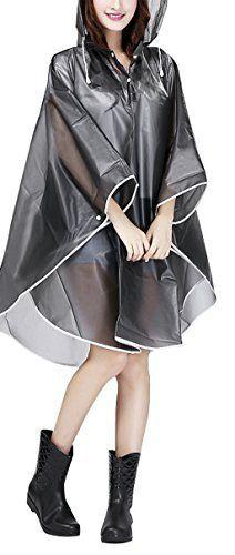 Raincoat Cape de Pluie Femme Portable EVA Manteau Imperméable Poncho à Capuche Moto/vélo Bâche Environnement pour…