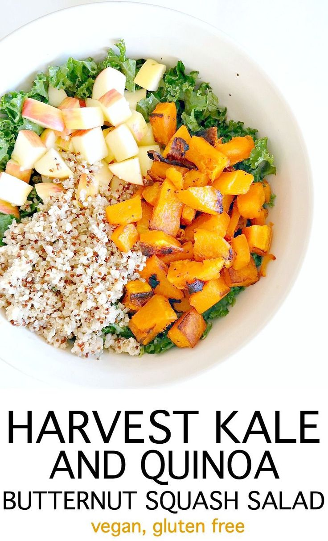 Harvest Kale and Quinoa Butternut Squash Salad. Vegan and Gluten Free ...