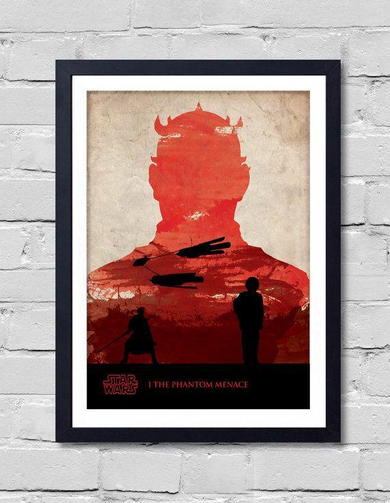 Vintage Star Wars Poster. The Phantom Menace by POSTERSHOT on Etsy