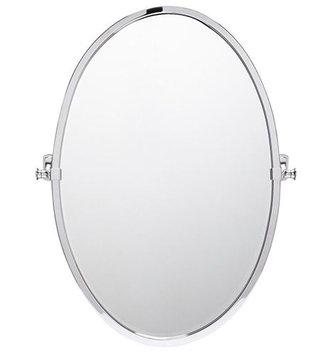 Bingham Large Oval Pivot Mirror Polished Nickel   Oval Shape Could Be  Pretty Too With The Wall Mounted Faucets   We Could Tape Both Out.