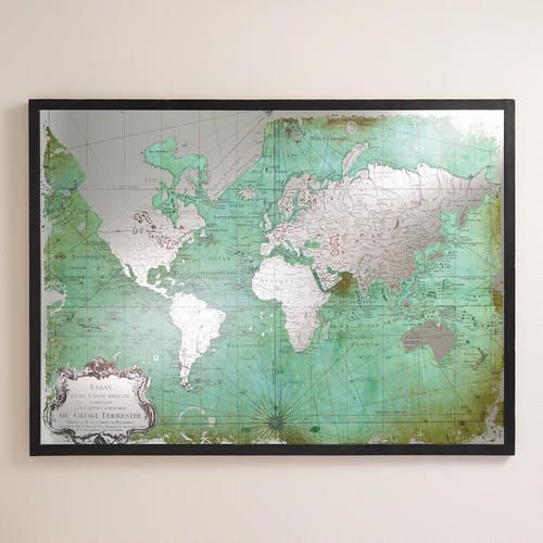 Our antique-green world map is printed on mirrored glass for added visual intrigue. A simple black frame completes the look, making it a handsome addition to your home office or living room.