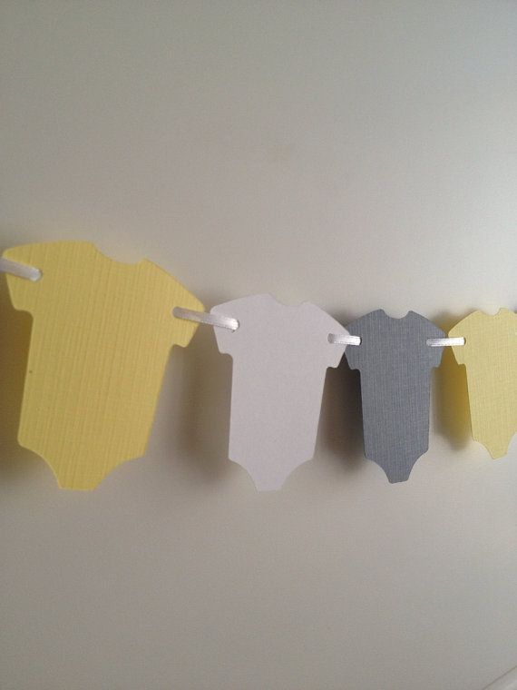 Baby banner onesie garland, baby shower decor, yellow and grey paper garland $6 per 6 feet