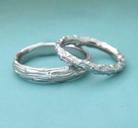 Twig Wedding Rings  Palladium 950  Pine Branch  Set by esdesigns, $836.00