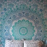 Pale Green Ombre Large Tapestry - The Fox and The Mermaid - 1