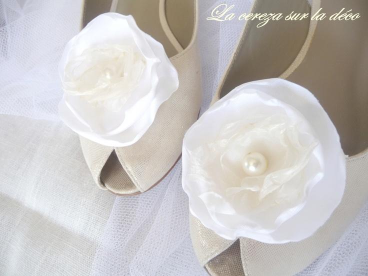 Clip chaussure mariage ivoire & blanc °féérique°