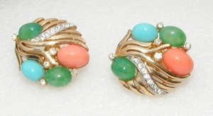 Vintage Trifari Faux Jade Faux Coral Faux Turquoise Earrings Rhinestones Glass | eBay