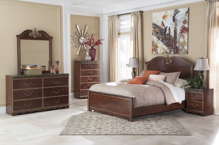 "New Ashley ""Naralyn"" 6 Piece Queen Bed Set w Faux Marble Top Furniture Luxury - Model Of marble top bedroom furniture New Design"