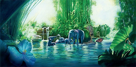 Disneyland - The Jungle Cruise - John Rowe - World-Wide-Art.com - $495.00 #Disney #JohnRowe #Disneyland
