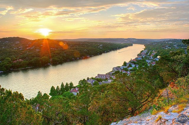 the view from Mount Bonnell, Austin.  You'll climb almost 100 steps to get there.  Bring a picnic bc there are tables up there for your use.  Folklore tells us that romantic couples who go up there often go on to get married.  Could be good...or not.