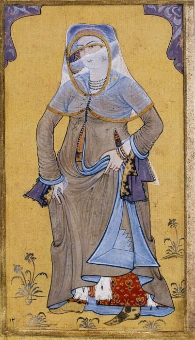 """Circa 1720, woman in ferace (feh-rah-jeh), """"overcoat"""", for going out of the house, by Levni (d. 1732)"""