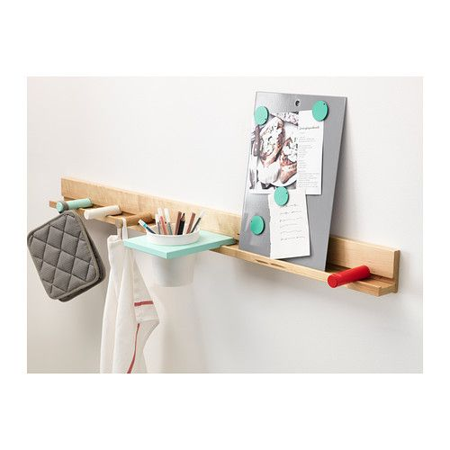 IKEA PS 2014 Wall rail/container/board/4 knobs IKEA You attach the accessories in to the wall rail from the side – no tools are needed.
