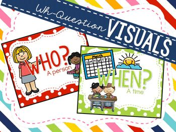 Simple and cute visual posters to work on WH- questions in speech therapy or in the classroom. Includes large wall posters and small binder ring visuals to use at your speech table or take with you for on the go therapy!