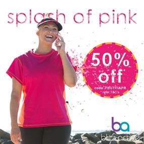 Lets go, 2016 Mothers Day Classic is coming up & PINK is the colour of choice!  Fabulous TUTTI FRUTTI TEE is on offer 50% OFF - Promo code - FRUTTIAPR (whilst stocks last - refer T&C's at www.blitzactive.com.au)  The Tee has an A-line cut, moisture wicking performance fabric, with a short sleeve to give you a little warmth on your walk or run.  #blitzactive #blitzactivewear #plussizeactivewear #plussizefashion #mothersdayclassic #activewear