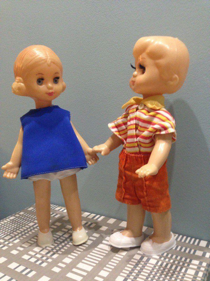 кукла ссср рельефные волосы мальчик + девочка ( 30-31см)